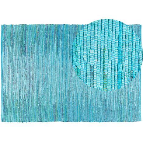 Tapis à poil ras bleu en coton 160x230 cm