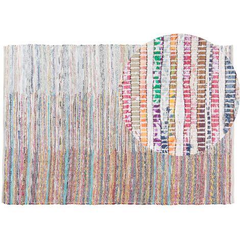Tapis à poil ras multicolore en coton 140x200 cm