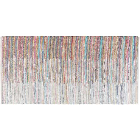 Tapis à poil ras multicolore en coton 80x150 cm