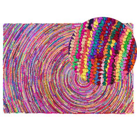 Tapis à poil ras multicolore en polycoton 140x200 cm