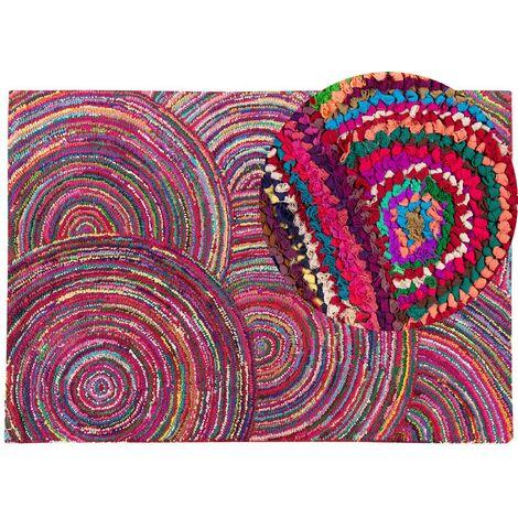 Tapis à poil ras multicolore en polycoton 160x230 cm