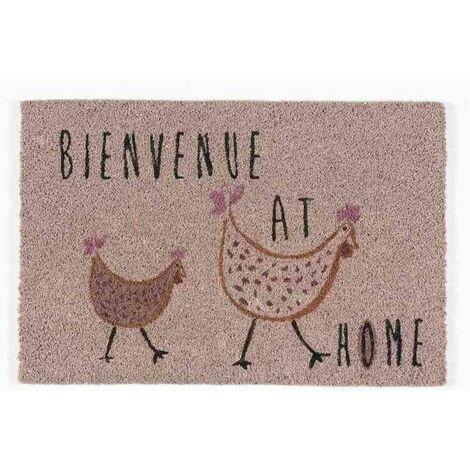 Tapis abrité brossant - girly poulette - 60x40 cm