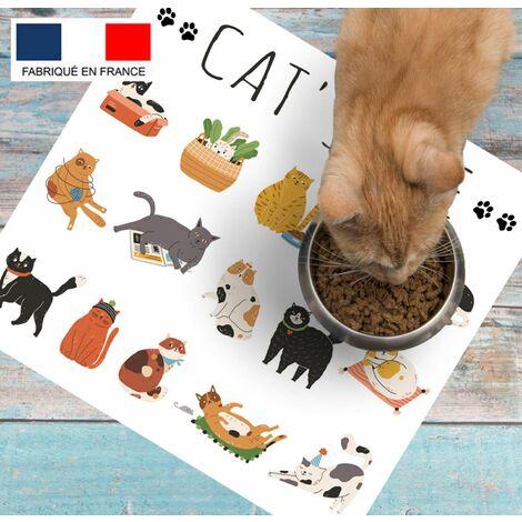 Tapis alimentation animaux en vinyle Tarkett 39,5x43 pour sol cuisine sous gamelle chat chien - non toxique - motif cat's life