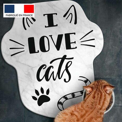 Tapis alimentation animaux en vinyle Tarkett 39,5x43 pour sol cuisine sous gamelle chat chien - non toxique - motif I love cats