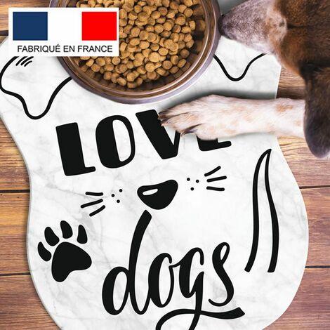 Tapis alimentation animaux en vinyle Tarkett 39,5x43 pour sol cuisine sous gamelle chat chien - non toxique - motif I love dogs