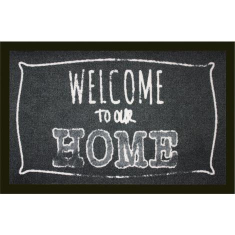 Tapis anti-poussière en polyamide motif Welcome To Our Home - Dim : 40 x 60 cm- PEGANE -