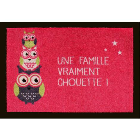 """Tapis anti-poussière """"Famille chouette"""" en polyamide coloris rose - Dim : 40 x 60 cm- PEGANE -"""