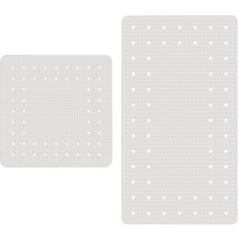 Tapis antidérapant baignoire et tapis de douche antidérapant, Mirasol, Blanc, Lot de 2