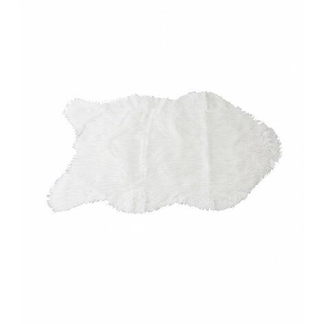 Tapis aspect fourrure blanche descente de lit plaid canapé - POLUX - Blanc