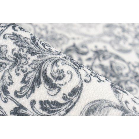 Tapis avec franges baroque lavable en machine Orlando Gris 80x280