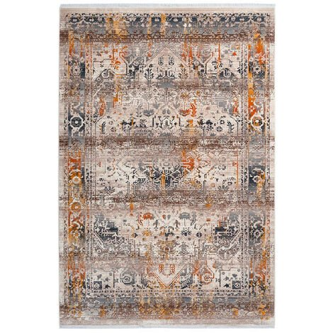 Tapis avec franges taupe rectangle vintage Hedmark Taupe 120x170 - Taupe
