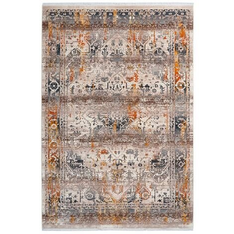 Tapis avec franges taupe rectangle vintage Hedmark Taupe 200x290 - Taupe