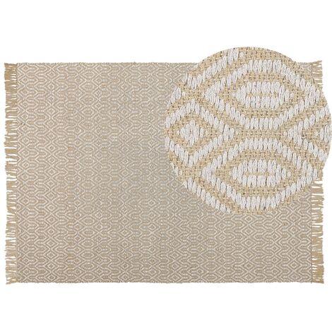 Tapis beige à motif géométrique 140 x 200 cm POZANTI