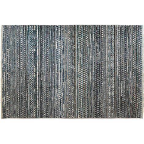 Tapis berbère avec franges bleu ethnique Coni Bleu 160X214 - Bleu