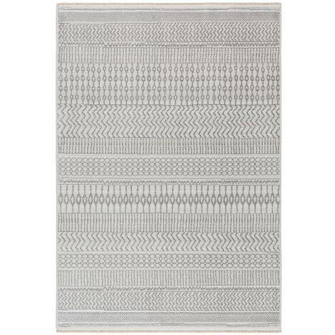 Tapis berbère avec franges ethnique gris Morum Gris 80x150 - Gris