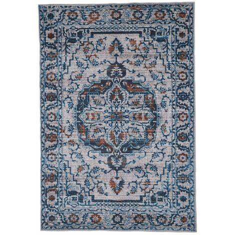 Tapis berbère bleu jeans ethnique Pise Bleu jeans 80x150