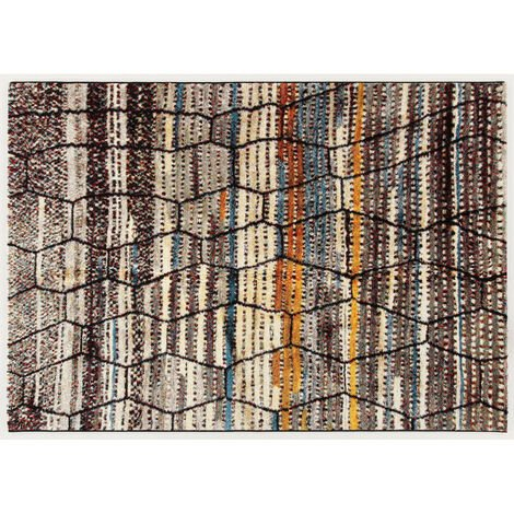 Tapis berbère multicolore à courtes mèches ethnique Donegal Multicolore 200x300 - Multicolore