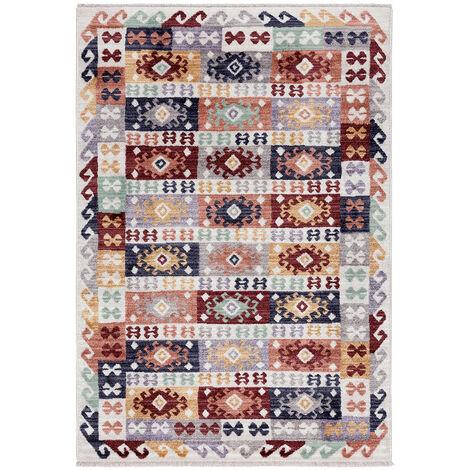 Tapis berbère multicolore kilim avec franges Taulov Multicolore 200x290 - Multicolore