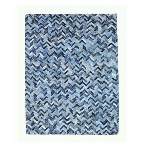 TAPIS bleu 120x180 patchwork DENIM - VALI - Bleu