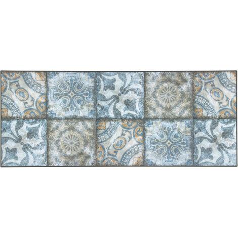 Tapis bleu carreaux de ciment design pour cuisine Falkirk Bleu 50x180 - Bleu