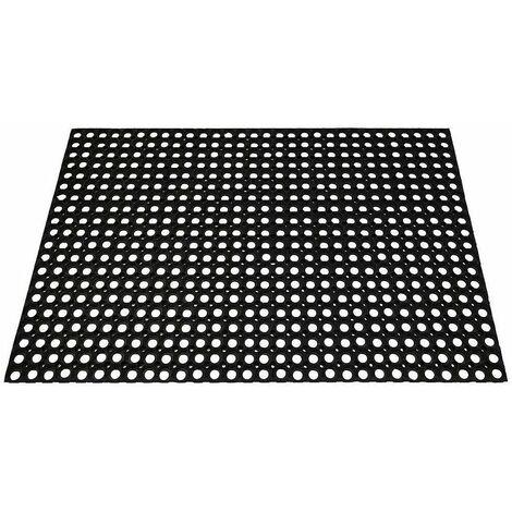 Tapis caillebotis caoutchouc noir 80 x 120 cms ep. 23 mm