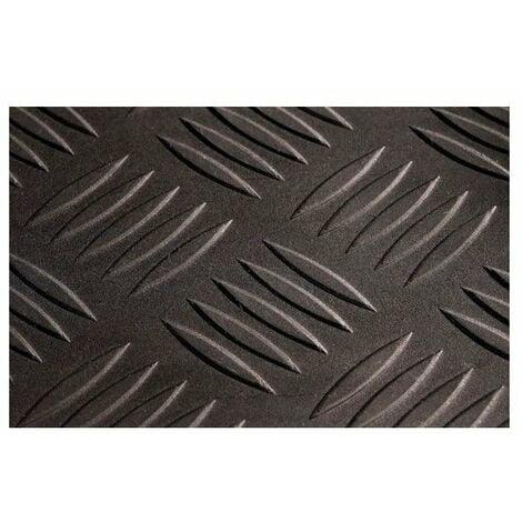 Tapis caoutchouc industriel checker 1,40 x 10 m ep 3 mm noirle rl