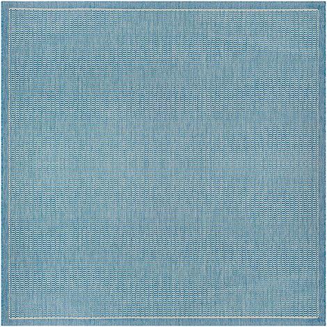 Tapis carré extérieur et intérieur moderne Alphée Bleu 200x200 - Bleu