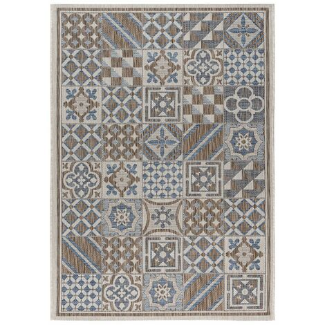 Tapis carreaux de ciment intérieur et extérieur plat Tufino Multicolore 160x230 - Multicolore