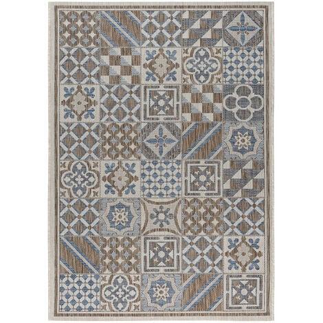 Tapis carreaux de ciment intérieur et extérieur plat Tufino Multicolore 80x150 - Multicolore