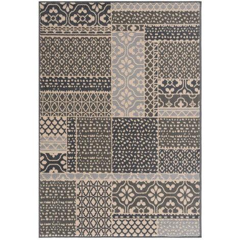 Tapis carreaux de ciment moderne pour salon Marnay Gris 120x170 - Gris