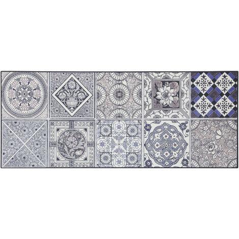 Tapis carreaux de ciment pour cuisine en PVC design Thurso Bleu 50x120 - Bleu