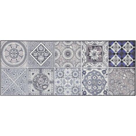 Tapis carreaux de ciment pour cuisine en PVC design Thurso Bleu 50x180 - Bleu