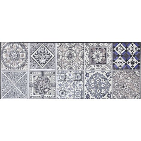 Tapis carreaux de ciment pour cuisine en PVC design Thurso Bleu 66x240 - Bleu