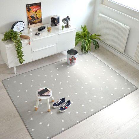 Tapis chambre d'enfant étoiles - Gris