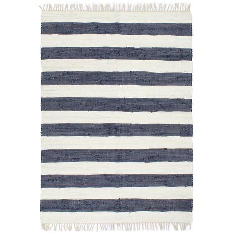 Tapis chindi tisse a la main Coton 80x160 cm Bleu et blanc