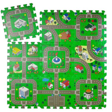 Tapis circuit, 9 pièces de puzzle, sans polluants, mousse EVA, chambre d'enfants, L x P : 90 x 90 cm, coloré