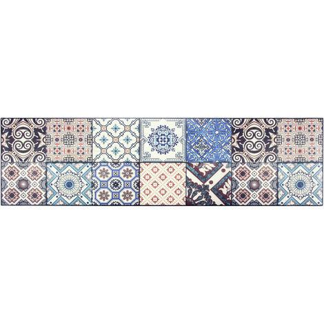 Tapis coloré design carreaux de ciment pour cuisine Troon Multicolore 50x180 - Multicolore