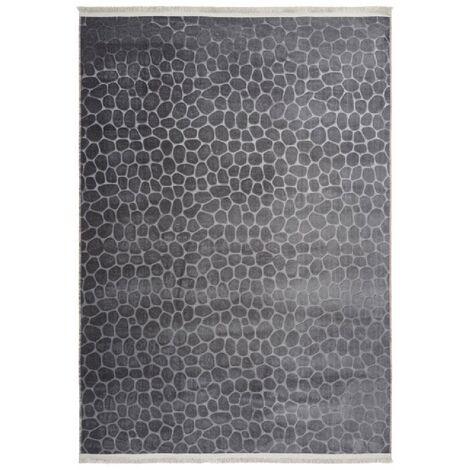 Tapis contemporain avec franges lavable en machine Greensboro Graphite 200x280