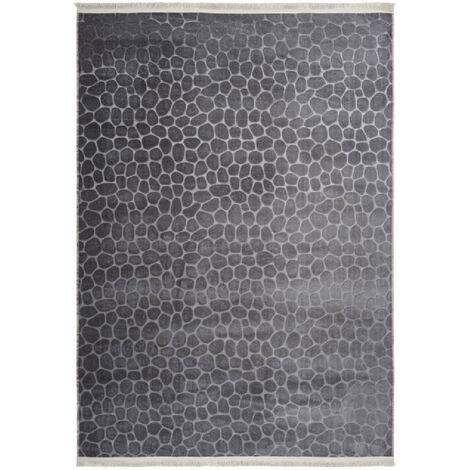 Tapis contemporain avec franges lavable en machine Greensboro Graphite 80x2500