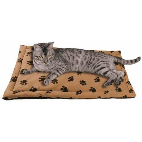 Tapis couverture matelassée anti-taches pour animal de compagnie motif pattes - beige - 60 x 90 cm