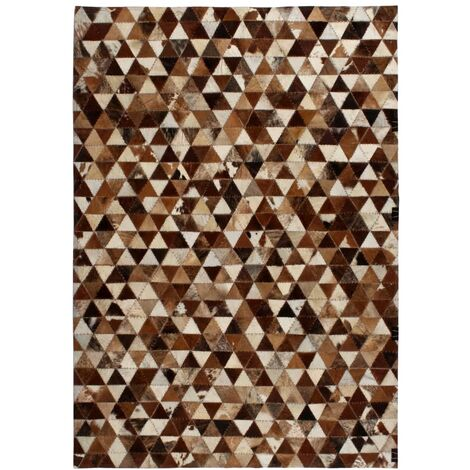 Tapis Cuir véritable Patchwork 160x230 cm Triangle Marron ...