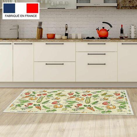 Tapis cuisine en vinyle pvc Tarkett 49,5x109 pour sol cuisine sous évier ou salle de bains- style bistrot motif fruits