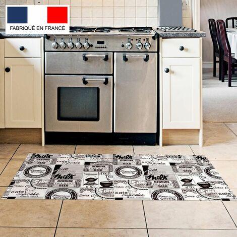 Tapis cuisine en vinyle pvc Tarkett 49,5x109 pour sol cuisine sous évier ou salle de bains- style bistrot motif milk