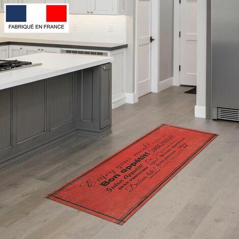 Tapis cuisine en vinyle pvc Tarkett 49,5x109 pour sol cuisine sous �vier ou salle de bains- style bistrot motif enjoy your meal