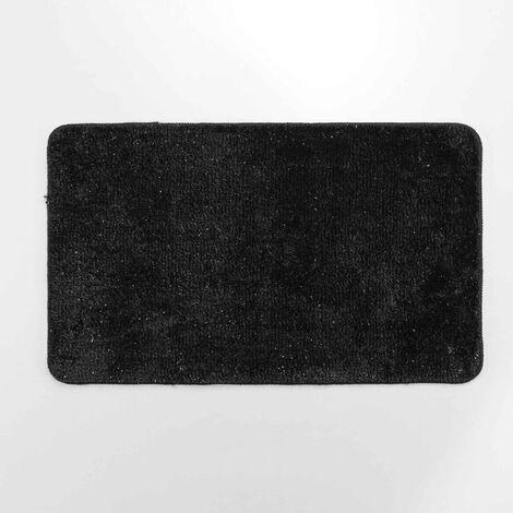 Tapis de bain 45 x 75 cm microfibre unie+fil metallise metropolis Noir