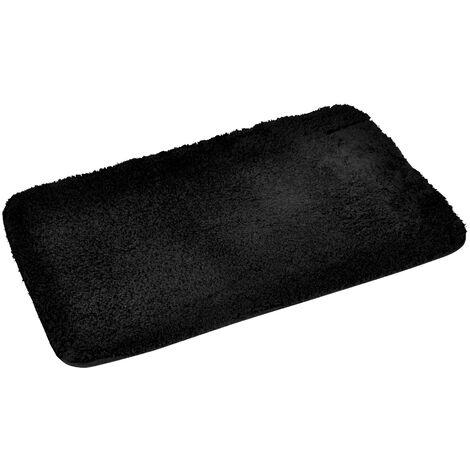 Tapis de bain 50 x 80 cm microfibre unie softness Noir