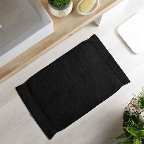 Tapis de bain 50 x 85 cm eponge unie colors Noir