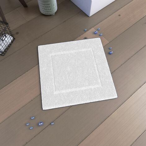 Tapis de bain 60x60 Antidérapant et 100% Coton - VELOUTE BLANC - Blanc