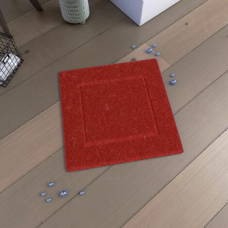 Tapis de bain 60x60 Antidérapant et 100% Coton - VELOUTE ROUGE - Rouge Cinabre
