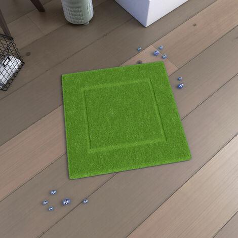 Tapis de bain 60x60 Antidérapant et 100% Coton - VELOUTE VERT - Vert Lime